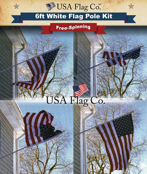 White Flag Pole Tangle Free American Flag by USA Flag Co.