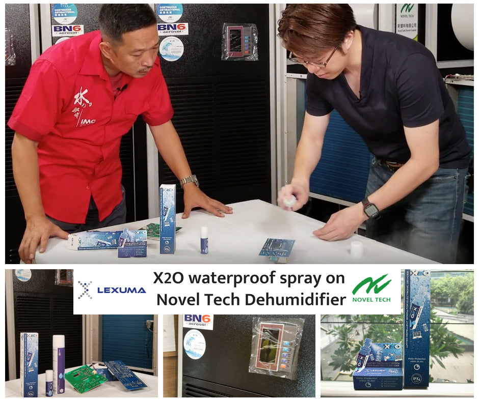Lexuma X2O Waterproof Spray Applied to Novel Tech Dehumidifier