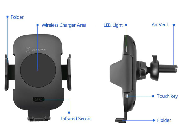 Lexuma 辣數碼 Xmount ACM-1009 Automatic Infrared Sensor Qi fast charging Wireless Car Charger Mount for iPhone samsung mobile phone accessories car smart holder wireless charger station adapter with infrared motion sensor safety driving Auto clamping Universal Car Mount Rotatable Bracket Air Vent Mount scosche stuckup iottie cd mount cigarette lighter wireless vent charger lynktec bolt besthing details review features
