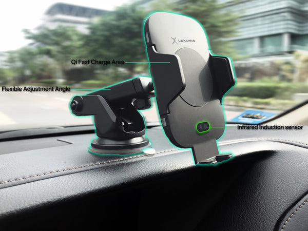 Lexuma 辣數碼 Xmount ACM-1009 Automatic Infrared Sensor Qi fast charging Wireless Car Charger Mount for iPhone samsung mobile phone accessories car smart holder wireless charger station adapter with infrared motion sensor safety driving Auto clamping Universal Car Mount Rotatable Bracket Air Vent Mount scosche stuckup iottie cd mount cigarette lighter wireless vent charger lynktec bolt besthing best buy home use office use features