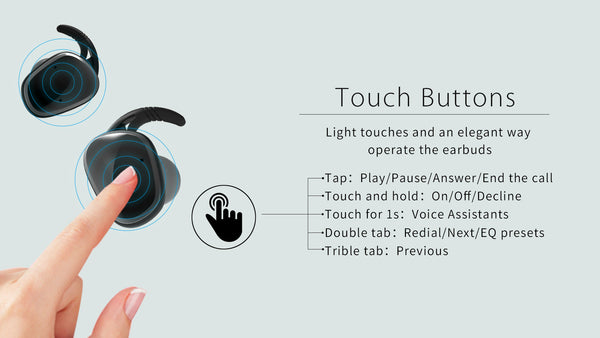 Lexuma XBud2 True Wireless Bluetooth 5.0 Earbuds having the touch buttons to operate the earpods
