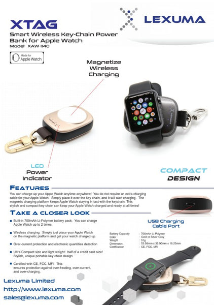 Lexuma 辣數碼 XTAG Apple Watch Portable Charger pantheon best portable 2019 keychain power bank case series 4 wireless charging belkin valet griffin amber charging case batterypro smashell power case mipow 2-in-1 keychain case capshi portable wireless charge best aftermarket charging case wireless charging case power bank portable adapter wireless  mfi certified best buy best buy uk anker iwatch insignia charging stand target series 3 product data sheet