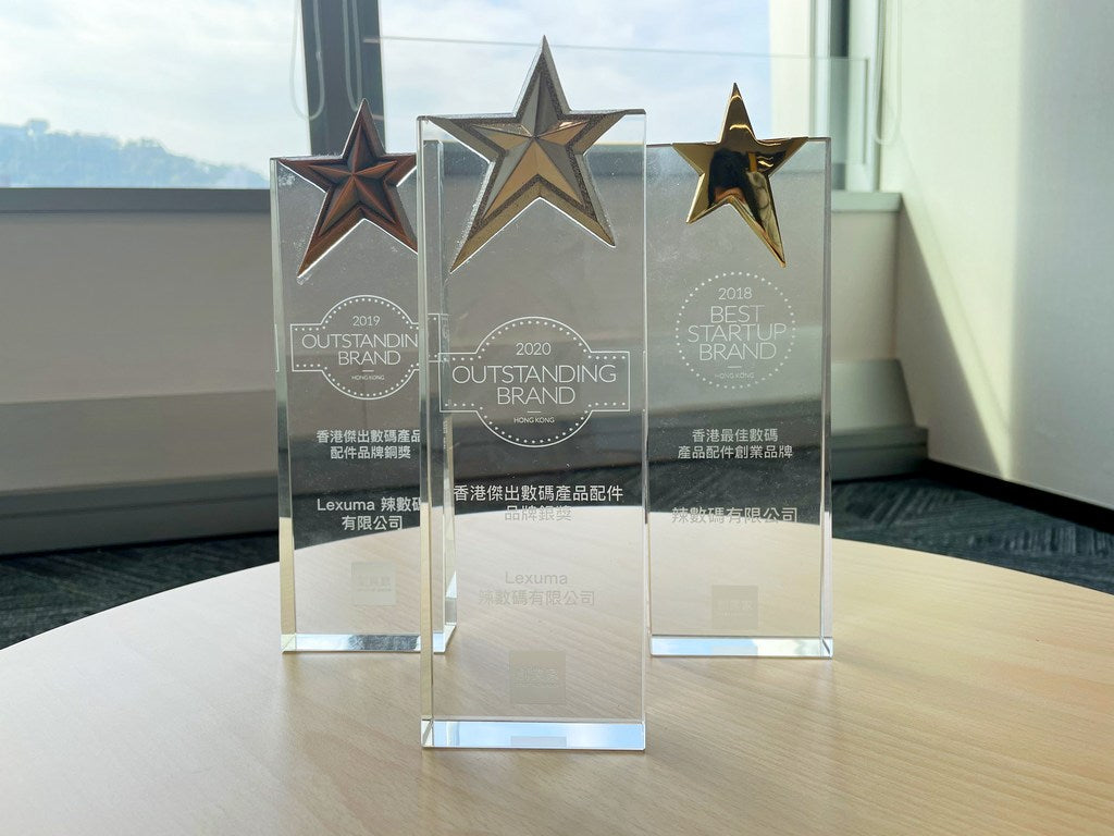 Lexuma 2020 Best Startup Brand Award Hong Kong Best Digital Product accessories silver awards Outstanding Brand on stage sharing excitement prizes