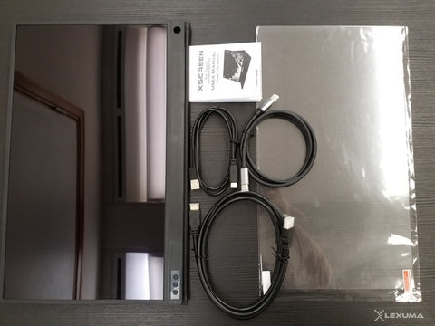 lexuma xscreen portable monitor with touch screen unboxing package contents