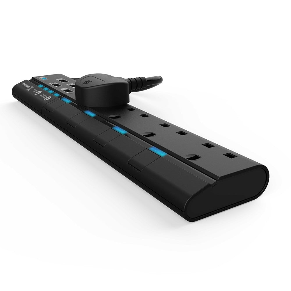Lexuma XStrip 4 Gang UK Surge Protected Power Strip with 4 USB Charging Ports