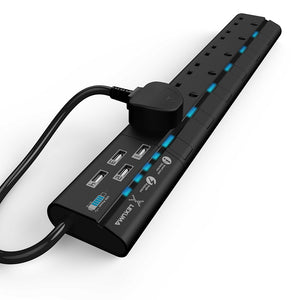 Lexuma XStrip 6 Gang UK Surge Protected Power Strip with 4 USB Charging Ports