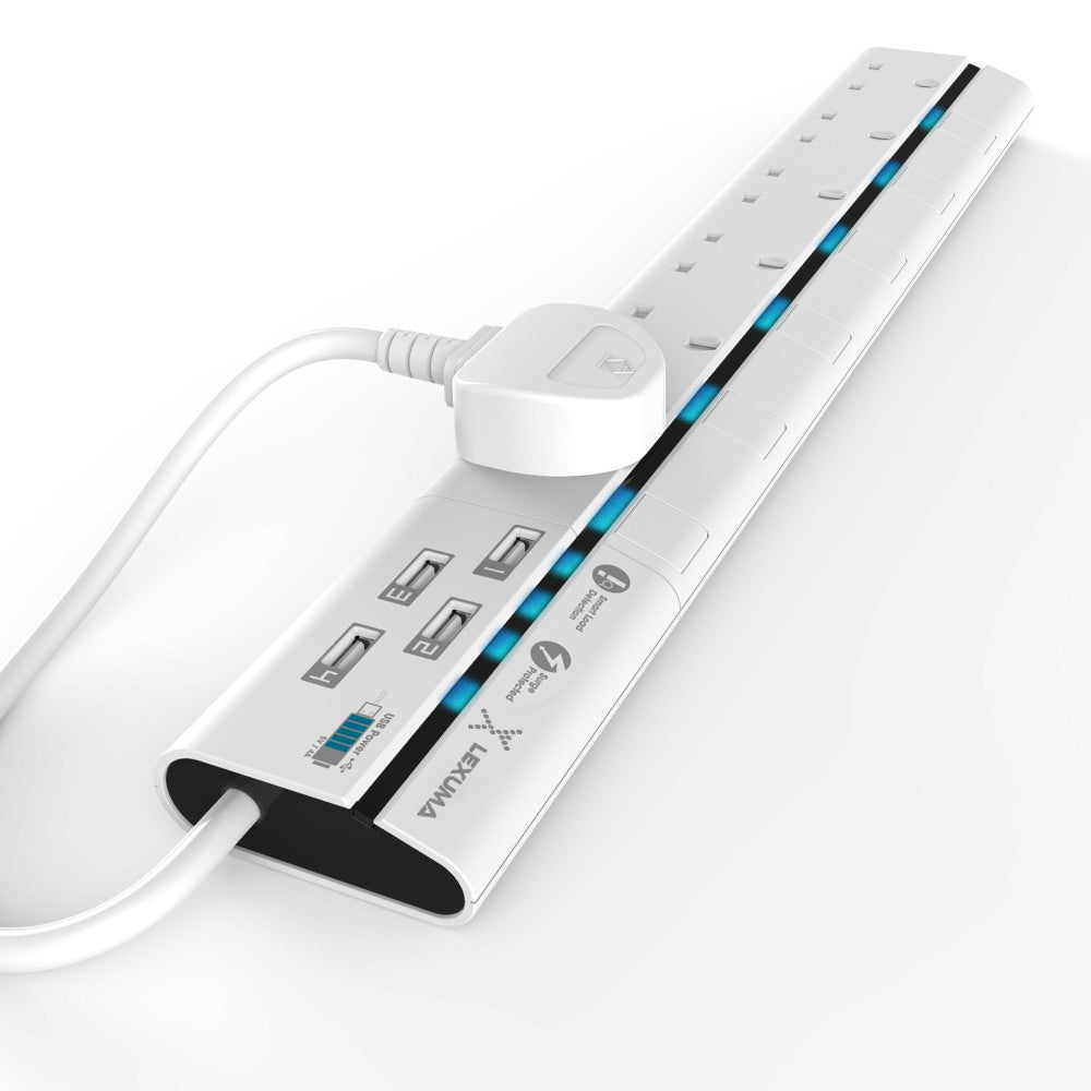 Lexuma XStrip XPS-S1640 6 socket Gang Surge Protected Power Strip with Smart IC USB Charging Ports universal power strip best smart argos travel extension lead 6 socket energy saving plug energy saving best energy saving worth it stand by electricity smart LED strip homekit strip lgc3 smartthings argos travel power strip vs extension cord