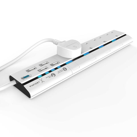 Lexuma XStrip 4 Gang UK Surge Protected Power Strip with 4 USB Charging Ports white