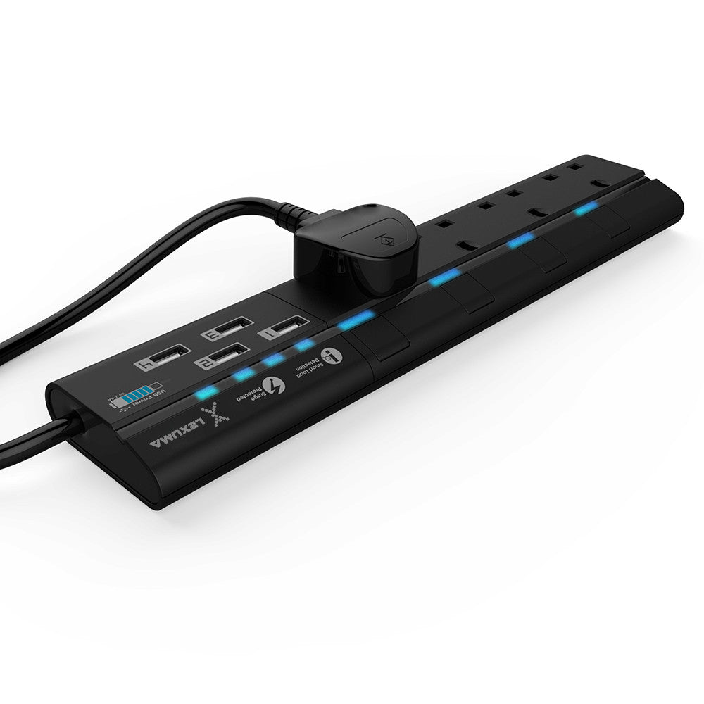 Lexuma XStrip XPS-S1440 4 socket Gang Surge Protected Power Strip with Smart IC USB Charging Ports universal power strip best smart argos travel extension lead 6 socket energy saving plug energy saving best energy saving worth it stand by electricity smart strip homekit strip lgc3 smartthings argos travel power strip vs extension cord black