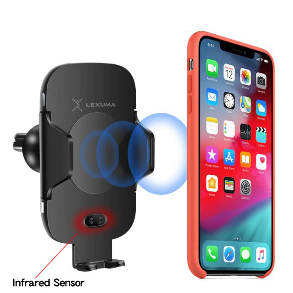 Lexuma Xmount ACM-1009 Automatic Infrared Sensor Qi fast charging Wireless Car Charger Mount for iphone samsung mobile phone accessories car smart holder wireless charger station adapter with infrared motion sensor sensing technology for smartphones