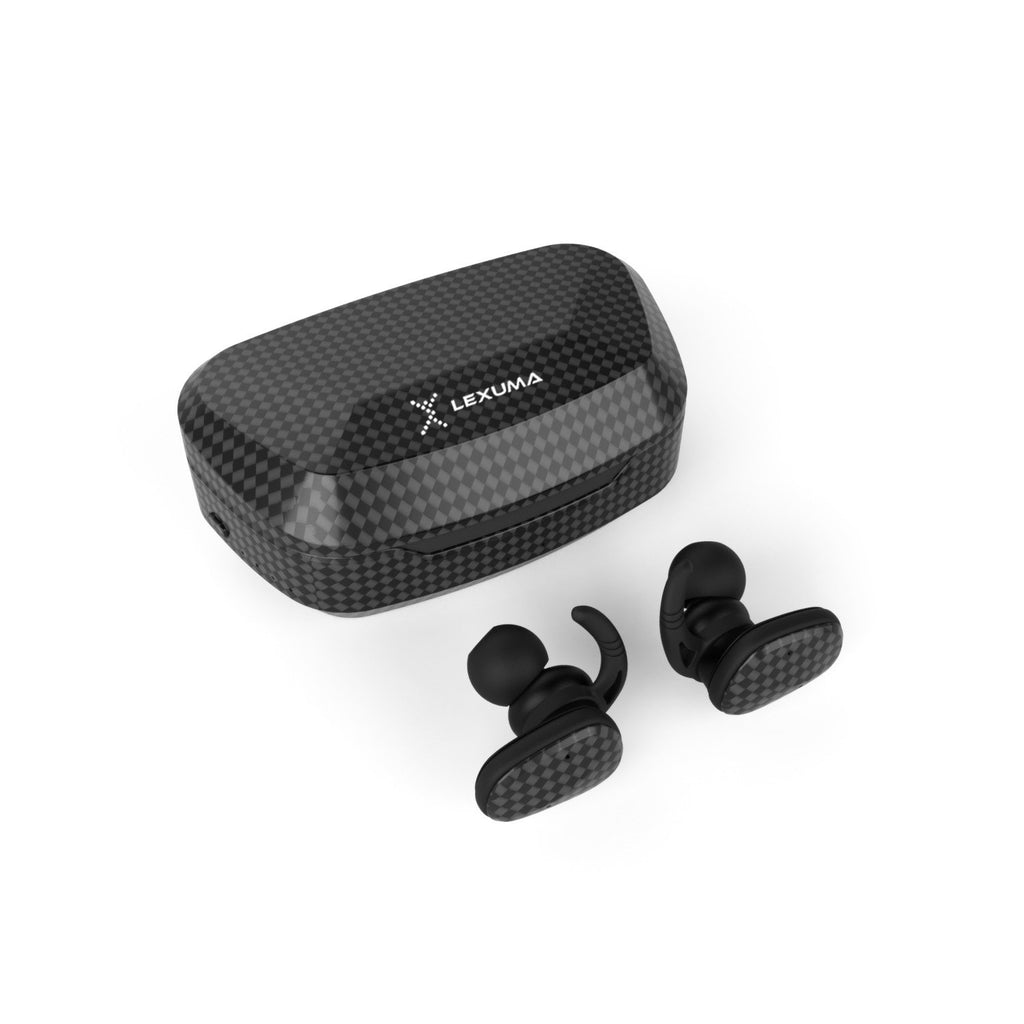 Lexuma XBUD2 XBUD TWS LE-702 wireless earbuds with charging case true wireless stereo bluetooth earphones best bluetooth BT5.0 In-Ear headphones for sport workout gym multi colors colorful Lightweight IP56 waterproof sweatproof protection carbon fibre texture
