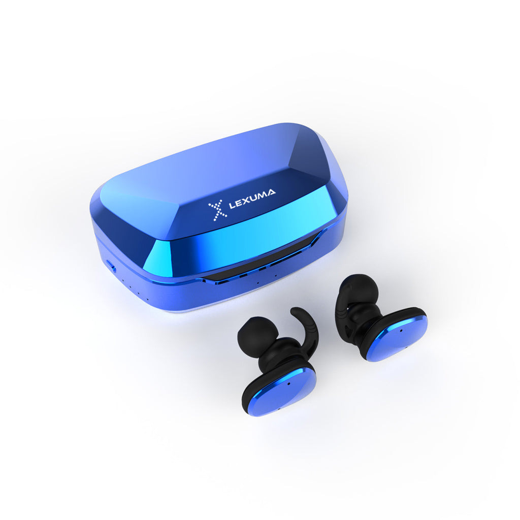 Lexuma XBUD2 XBUD TWS LE-702 wireless earbuds with charging case true wireless stereo bluetooth earphones best bluetooth BT5.0 In-Ear headphones for sport workout gym multi colors colorful Lightweight IP56 waterproof sweatproof protection chrome gem blue best gift for boys