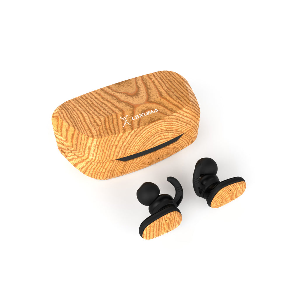 Lexuma XBUD2 XBUD TWS LE-702 wireless earbuds with charging case true wireless stereo bluetooth earphones best bluetooth BT5.0 In-Ear headphones for sport workout gym multi colors colorful Lightweight IP56 waterproof sweatproof protection special wooden wood painting headset classic