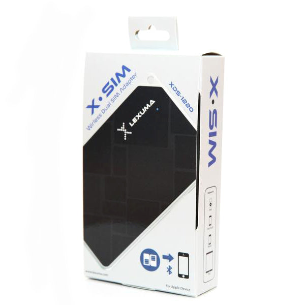 Lexuma XSIM XDS-1220 – Portable Wireless Bluetooth iPhone Extension Dual SIM Adapter package packaging