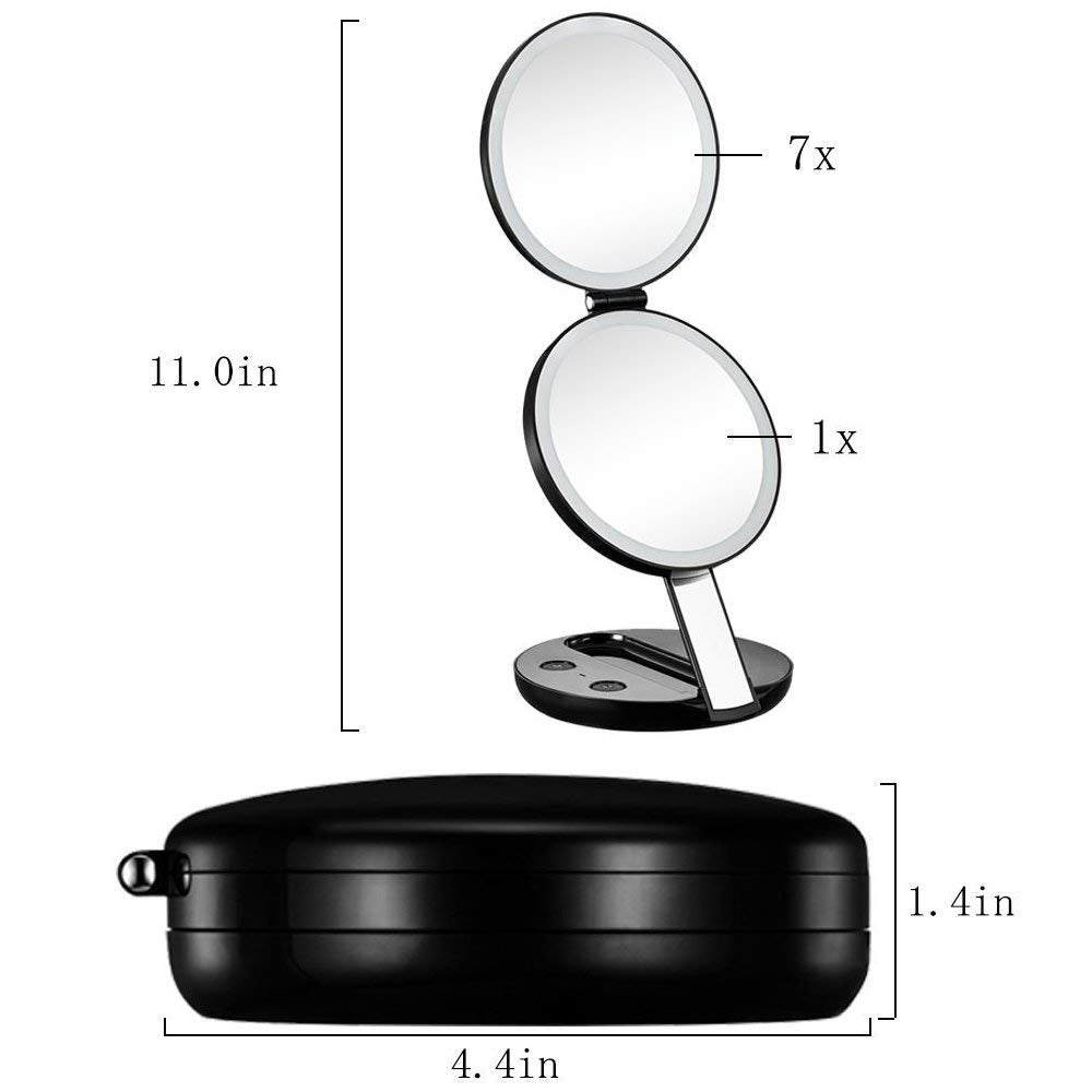 LED Lighted 3-fold Travel Compact Makeup Mirror - 1X/7X ...