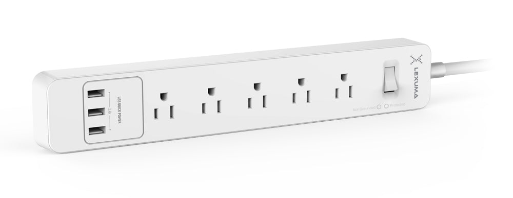 Lexuma XStrip US Surge Protected Power Strip with 3 USB Charging Ports