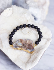 LAVA BEADS/ QUARTZ BRACELET- 0708 - Blue District
