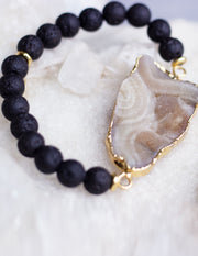 LAVA BEADS/ QUARTZ BRACELET- 0709 - Blue District