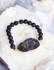 LAVA BEADS/ QUARTZ BRACELET- 0710 - Blue District