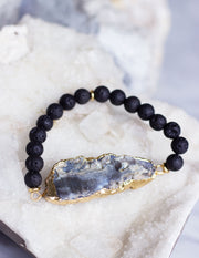 LAVA BEADS/ QUARTZ BRACELET- 0711 - Blue District