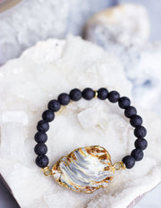 LAVA BEADS/ QUARTZ BRACELET- 0713 - Blue District