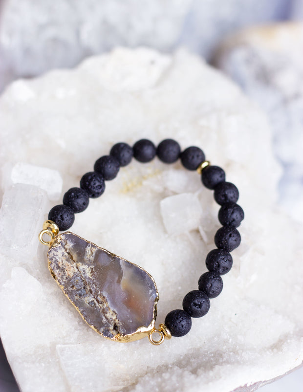 LAVA BEADS/ QUARTZ BRACELET- 0715 - Blue District