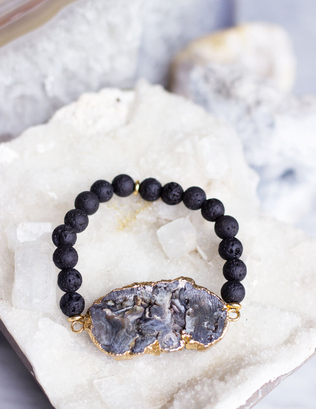 LAVA BEADS/ QUARTZ BRACELET- 0717 - Blue District