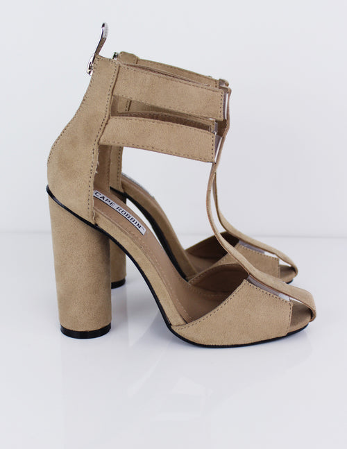 [nude faux suede high heel shoes] - Blue District