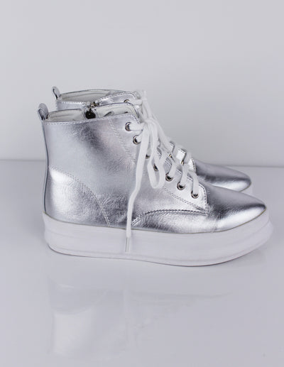 [silver platform high top sneakers] - Blue District