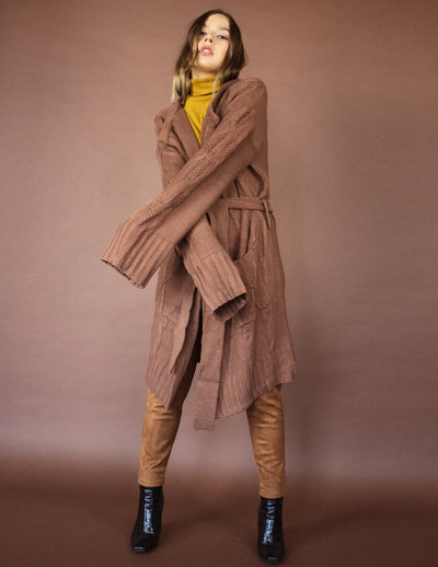 CAPE CARDIGAN- CHESNUT