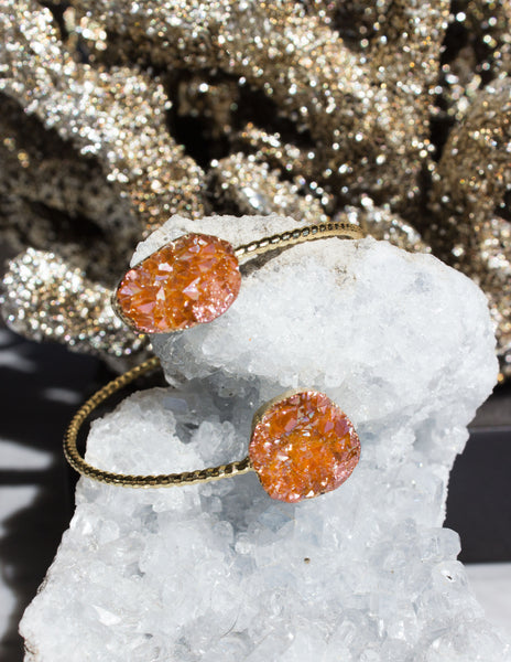 DRUZY QUARTZ BRACELET- ORANGE - Blue District