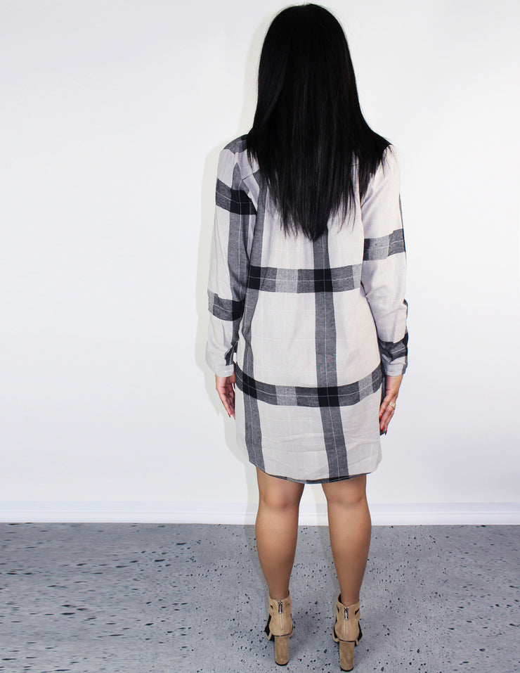 ECHO SHIRT DRESS- SAND - Blue District