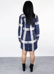ECHO SHIRT DRESS- NAVY - Blue District