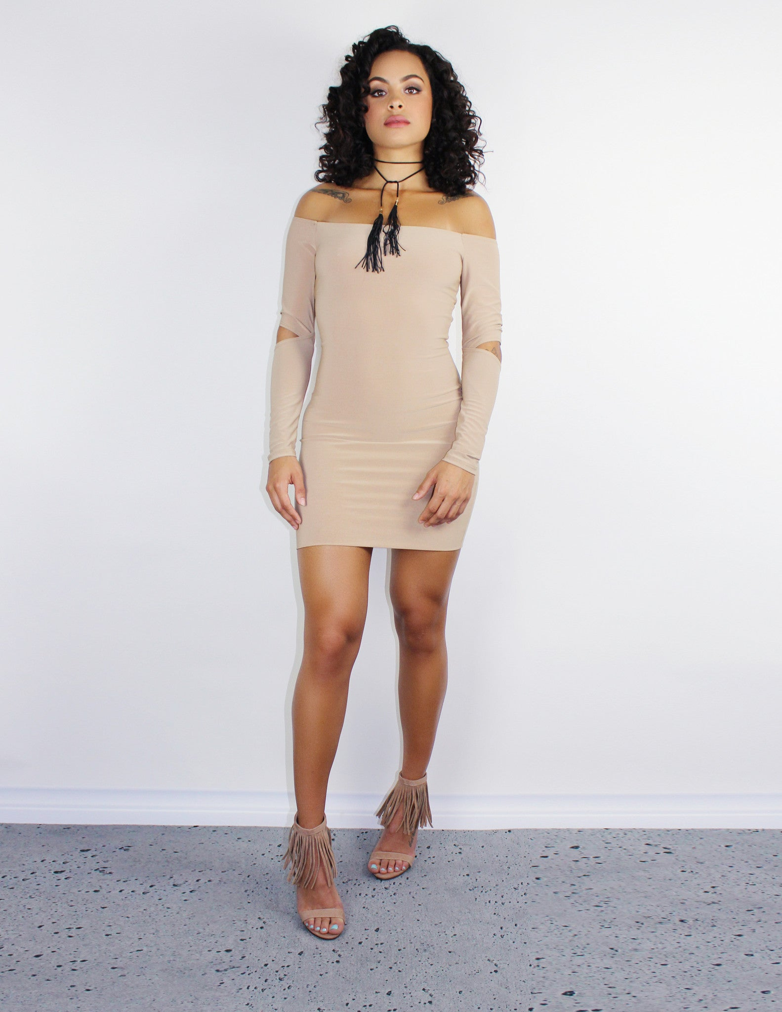 TAN BODYCON DRESS - BLUE DISTRICT