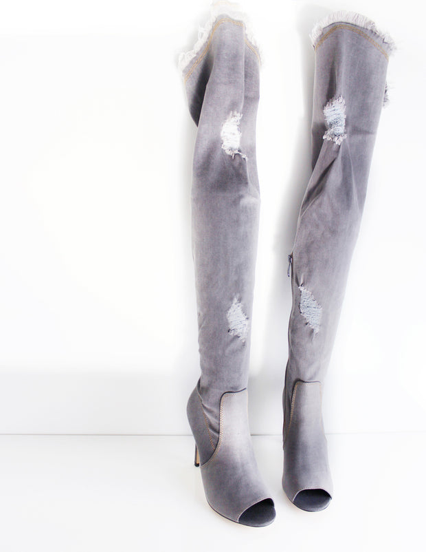 INERTIA DENIM OVER THE KNEE BOOTS - Blue District