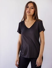 LEDA V-NECK TEE- SHADOW
