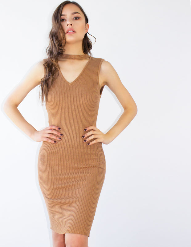 MABE DRESS- CAMEL - Blue District