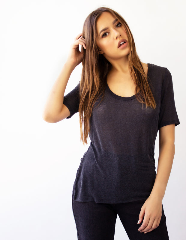 MIRA ROUND NECK TEE- MIDNIGHT