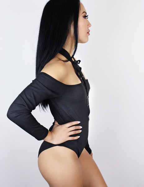 OLYMPIA BODYSUIT- BLACK - Blue District