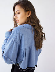 OPAL CROPPED JACKET - Blue District