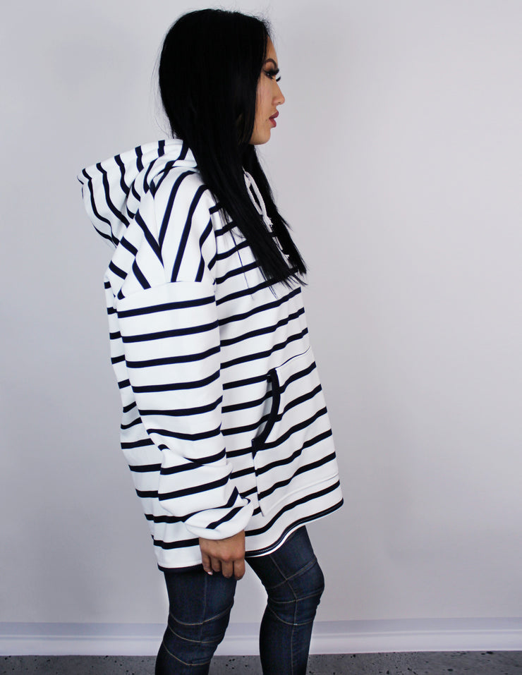 RULED OVERSIZED HOODIE - Blue District