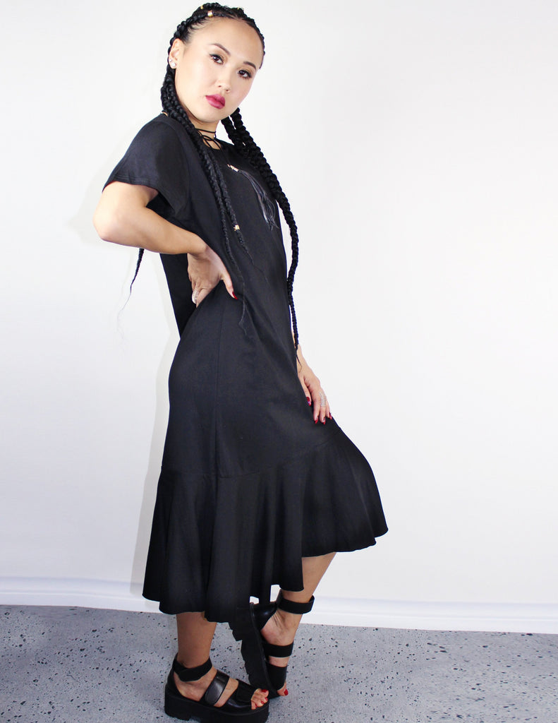 BLACK T- SHIRT DRESS