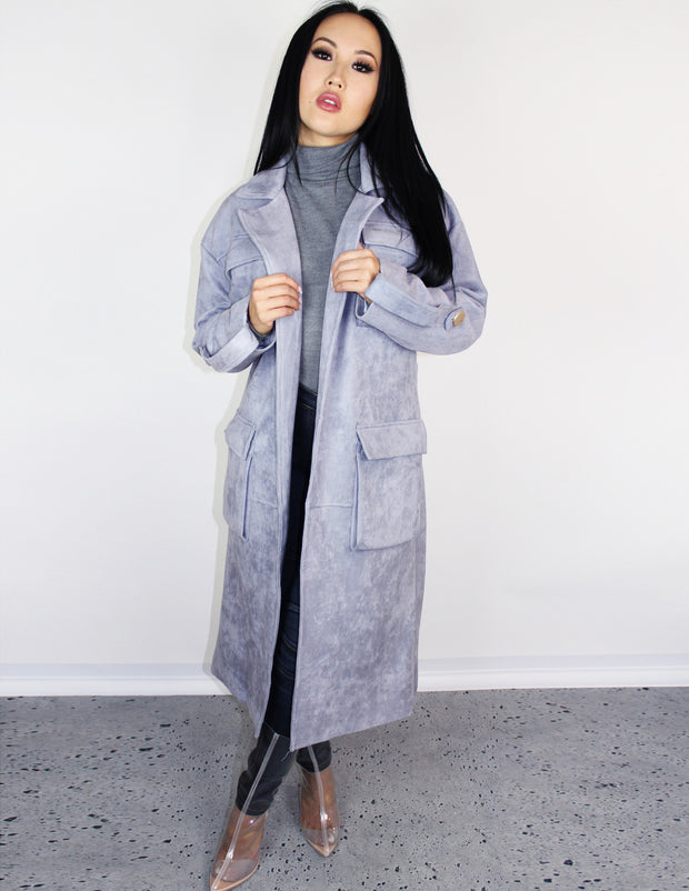 SKYVIEW SUEDE TRENCH COAT - Blue District
