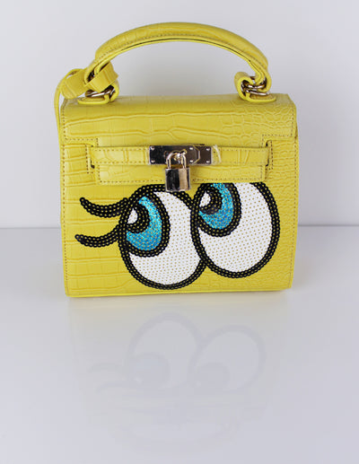 SUDE HANDBAG- YELLOW - Blue District