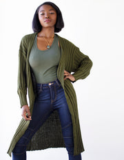 INCENSE  LONG CARDIGAN- OLIVE - Blue District