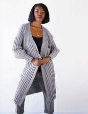 INCENSE  LONG CARDIGAN- GRAY - Blue District