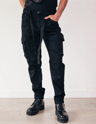 LEADING DENIM CARGO PANTS- ONYX