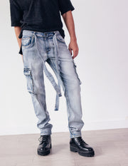 LEADING DENIM CARGO PANTS- SPINEL