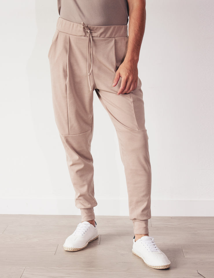 SLICK JOGGERS- TAUPE