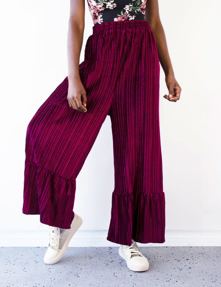 TUTTI PANTS- BURGUNDY - Blue District